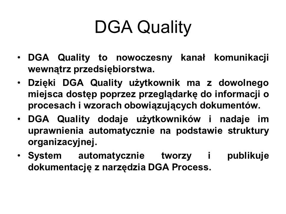 DGA Quality DGA Quality to nowoczesny kanał komunikacji wewnątrz przedsiębiorstwa. Dzięki DGA Quality użytkownik ma z dowolnego miejsca dostęp poprzez