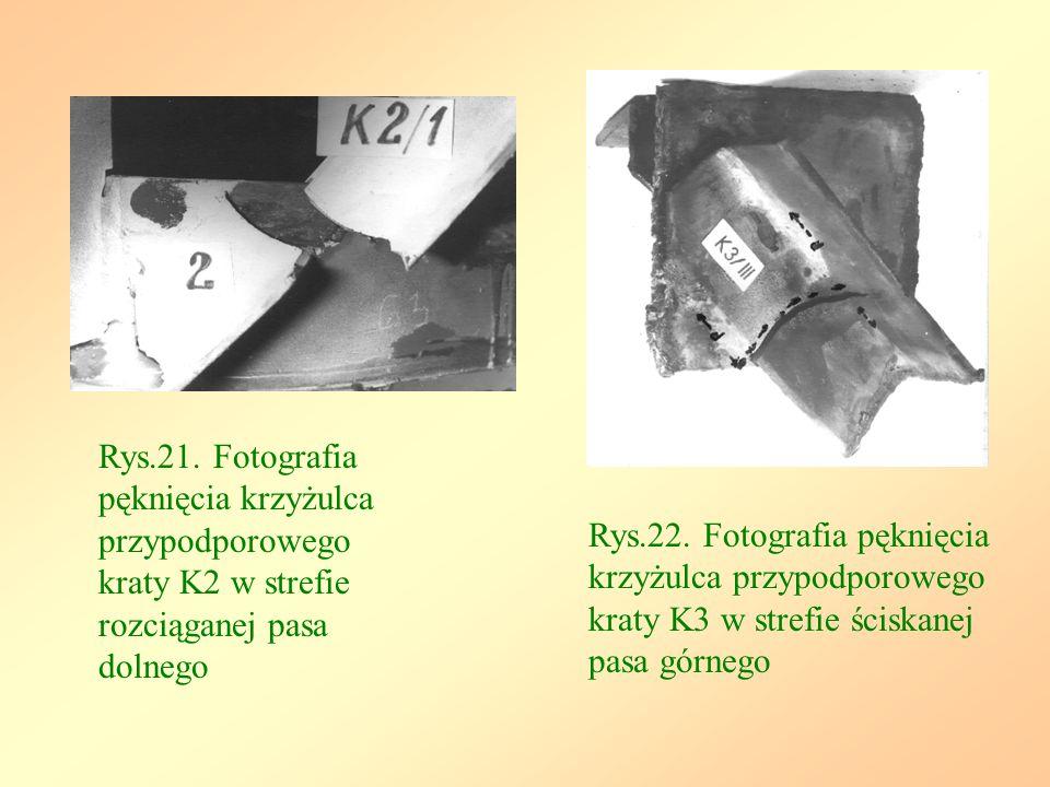 Rys.21. Fotografia pęknięcia krzyżulca przypodporowego kraty K2 w strefie rozciąganej pasa dolnego Rys.22. Fotografia pęknięcia krzyżulca przypodporow