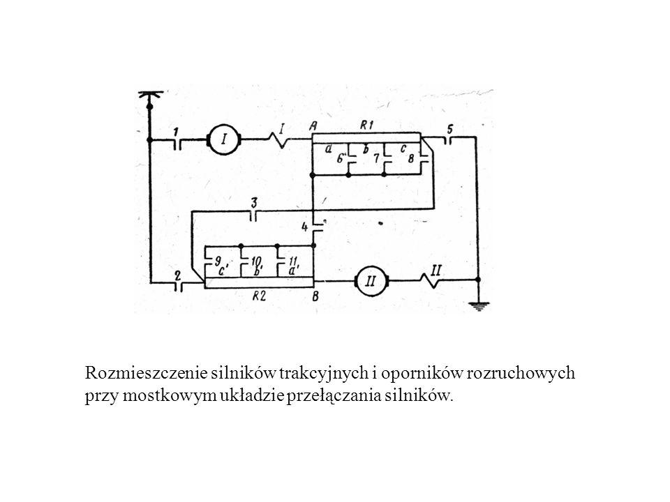 Rozmieszczenie silników trakcyjnych i oporników rozruchowych przy mostkowym układzie przełączania silników.