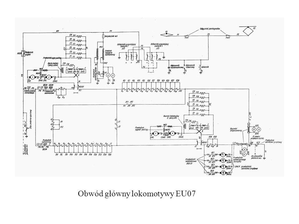 Do aparatury wysokiego napięcia należą: -pantograf; -wyłącznik szybki; -odłączniki: pantografu, główny, silników trakcyjnych; -styczniki; -nawrotnik; -zabezpieczenia – przekaźniki: nadmiarowo-prądowy, zanikowo-prądowy, różnicowy, zanikowo-napięciowy, sygnalizacji poślizgu (tzw.
