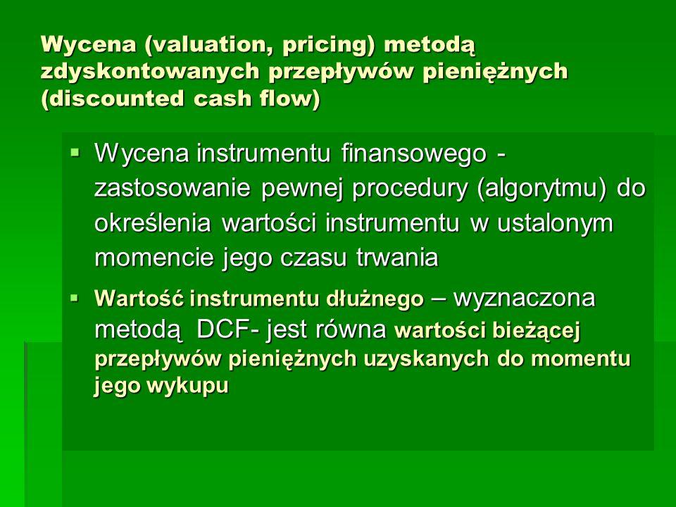 Wycena (valuation, pricing) metodą zdyskontowanych przepływów pieniężnych (discounted cash flow)  Wycena instrumentu finansowego - zastosowanie pewne