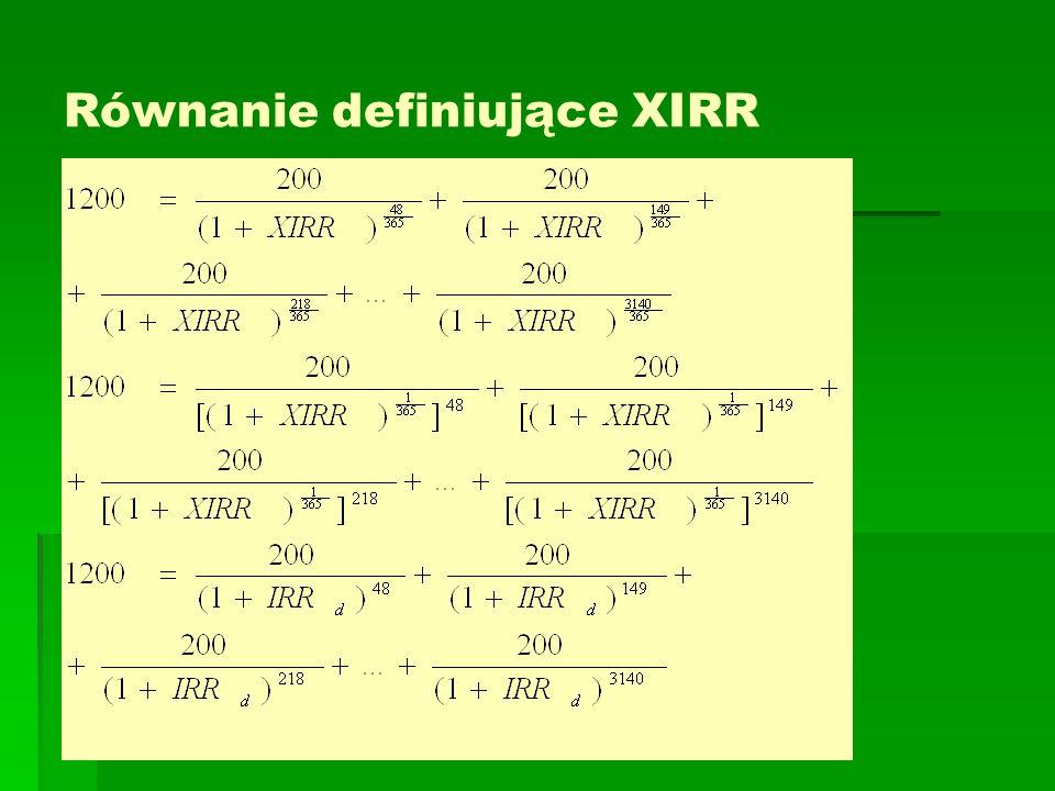 Równanie definiujące XIRR   Yuuyy
