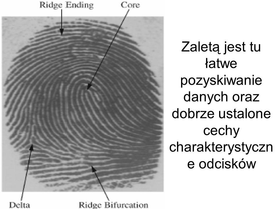 Do najbardziej znanych metod biometrycznych należy skanowanie odcisku palca i ocena jego szczegółów, tzw.