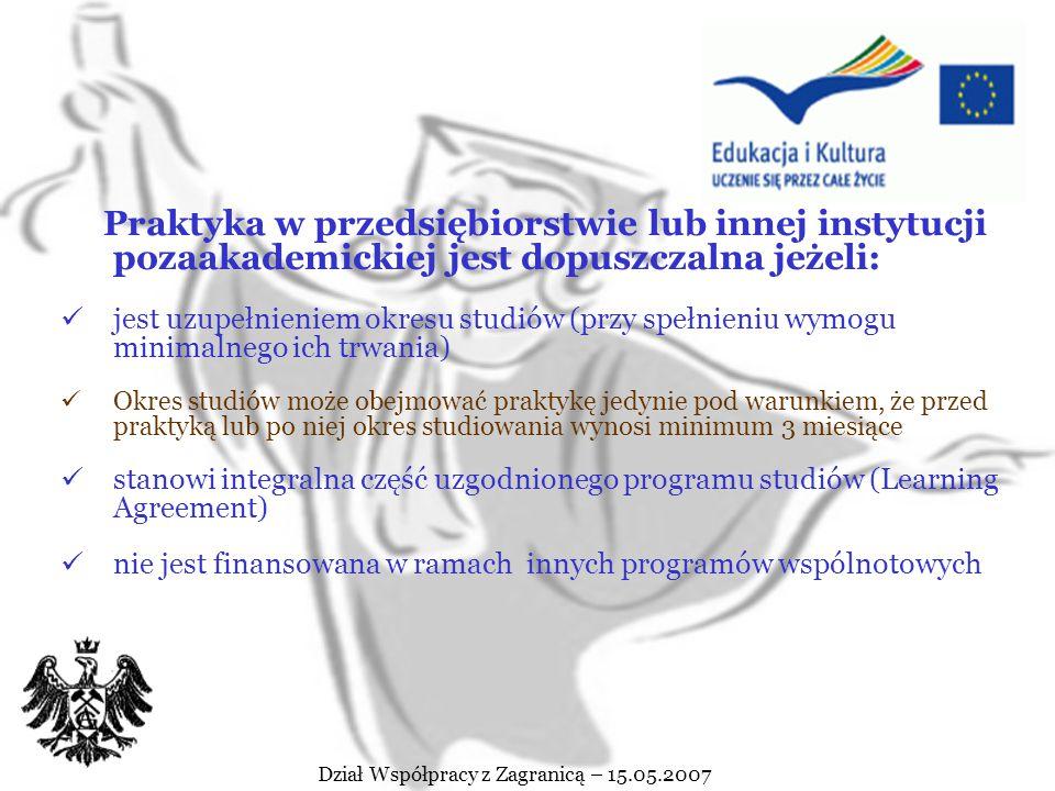Dział Współpracy z Zagranicą – 15.05.2007 Charakterystyka studiów w ramach Programu Erasmus cdn. Okres studiów za granicą może trwać od 3 – 12 miesięc