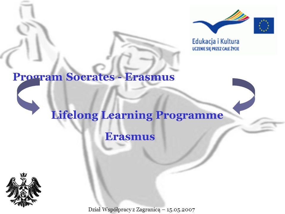 Dział Współpracy z Zagranicą – 15.05.2007 LIFELONG LEARNING PROGRAMME ERASMUS