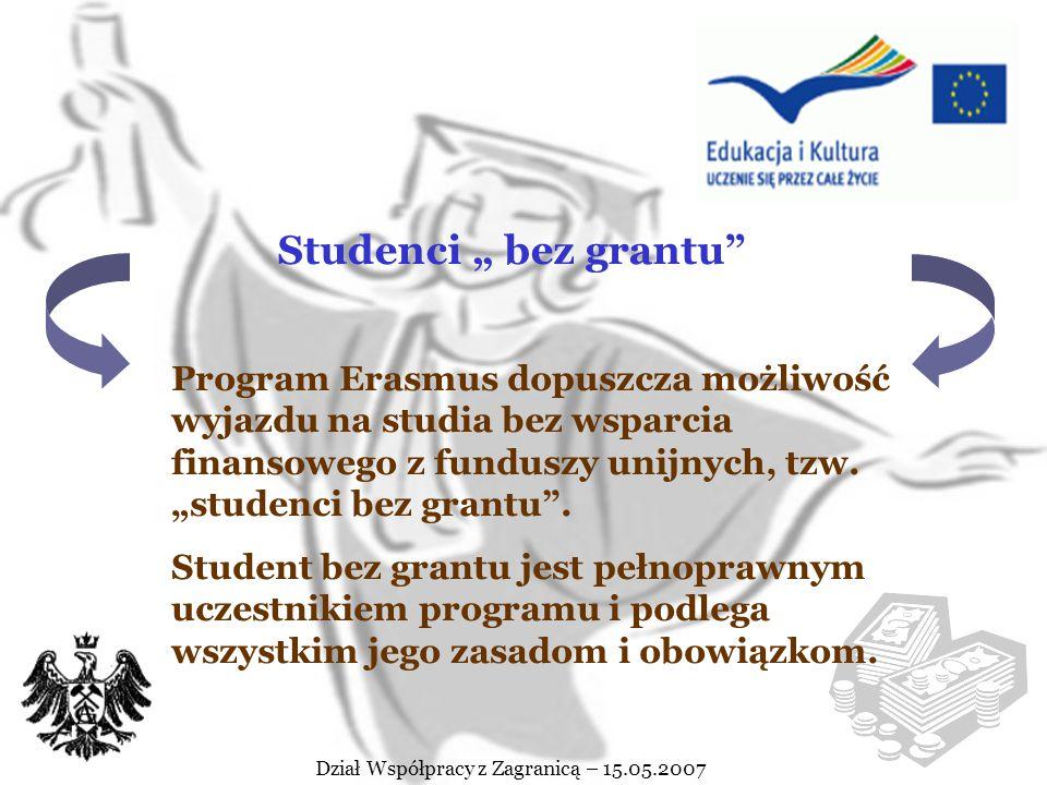 Dział Współpracy z Zagranicą – 15.05.2007 Dział Współpracy z Zagranicą nie dysponuje funduszem na dofinansowanie pobytu za granicą studentów biorących udział w Programie Erasmus