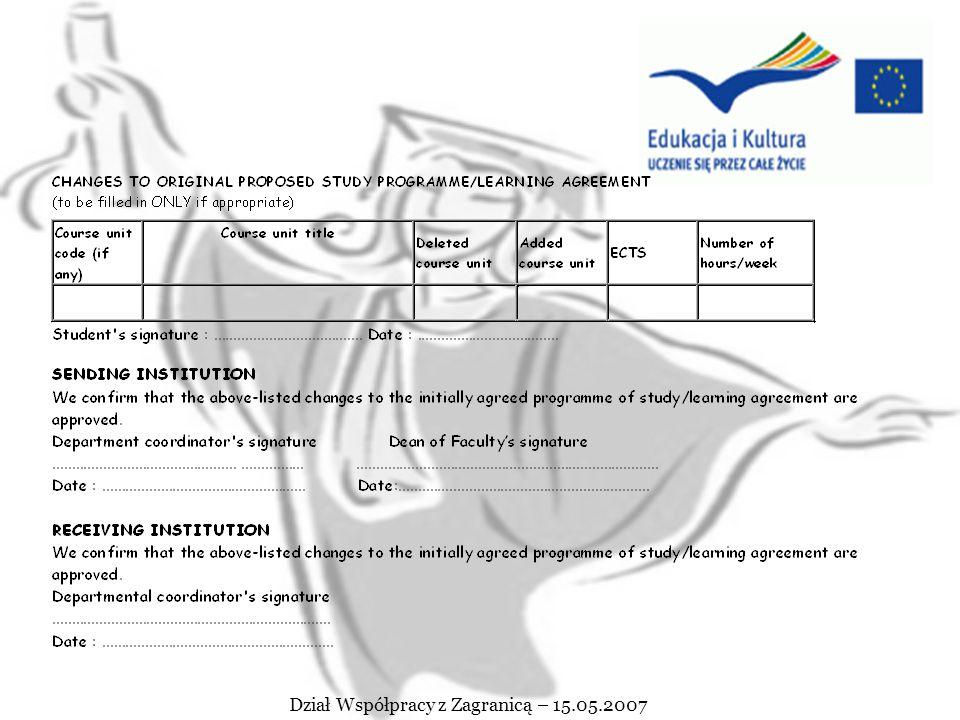 Dział Współpracy z Zagranicą – 15.05.2007 ACADEMIC YEAR........ /......... FIELD OF STUDY :.................................. Name of student :.......