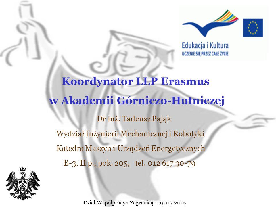 Program Socrates - Erasmus Lifelong Learning Programme Erasmus Dział Współpracy z Zagranicą – 15.05.2007