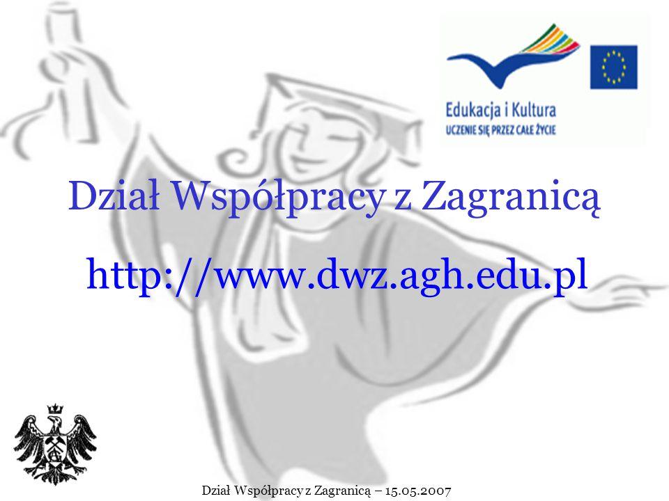 Dział Współpracy z Zagranicą – 15.05.2007 Osoby w Dziale Współpracy z Zagranicą zaangażowane w wymianę studentów Erasmusa Mgr inż.