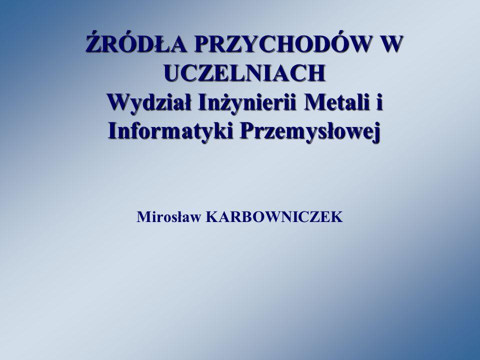ŹRÓDŁA PRZYCHODÓW W UCZELNIACH Wydział Inżynierii Metali i Informatyki Przemysłowej Mirosław KARBOWNICZEK