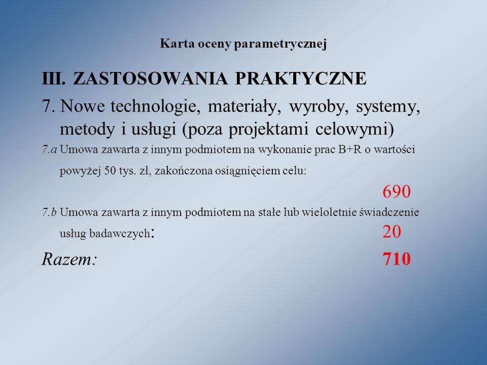 Karta oceny parametrycznej III. ZASTOSOWANIA PRAKTYCZNE 7.