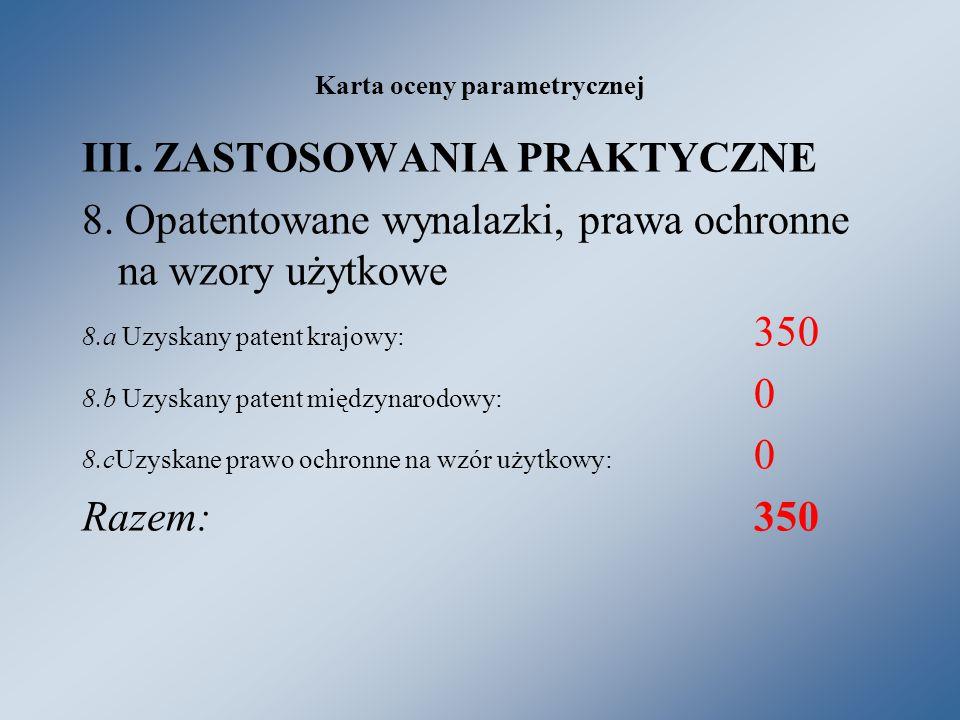 Karta oceny parametrycznej III. ZASTOSOWANIA PRAKTYCZNE 8.