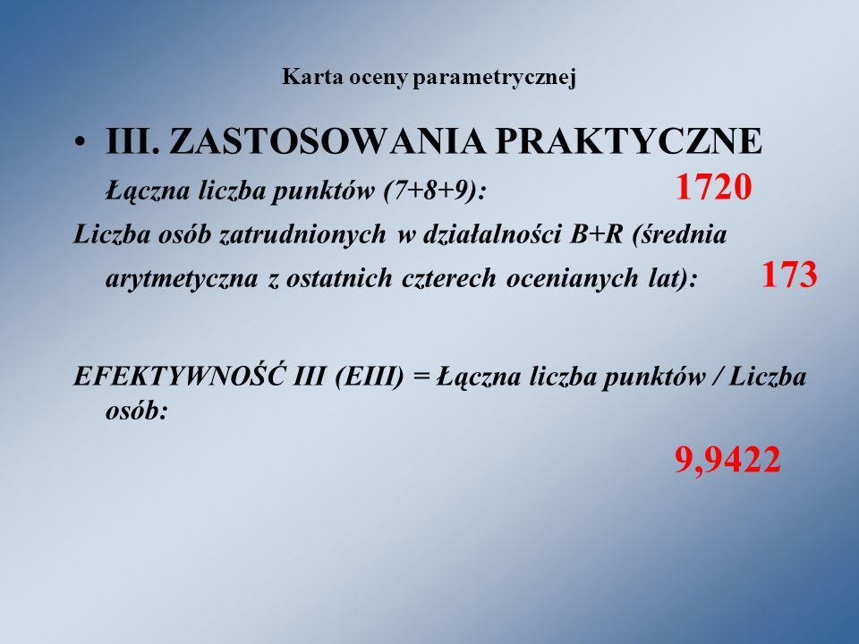 Karta oceny parametrycznej III.