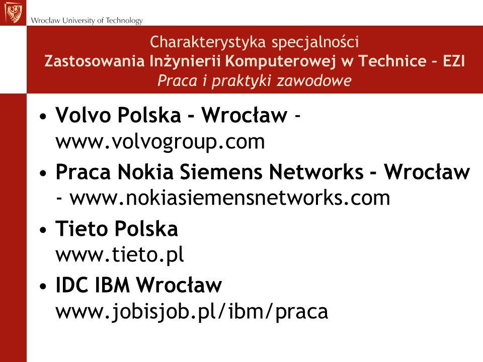 Charakterystyka specjalności Zastosowania Inżynierii Komputerowej w Technice – EZI Praca i praktyki zawodowe Volvo Polska - Wrocław - www.volvogroup.com Praca Nokia Siemens Networks - Wrocław - www.nokiasiemensnetworks.com Tieto Polska www.tieto.pl IDC IBM Wrocław www.jobisjob.pl/ibm/praca