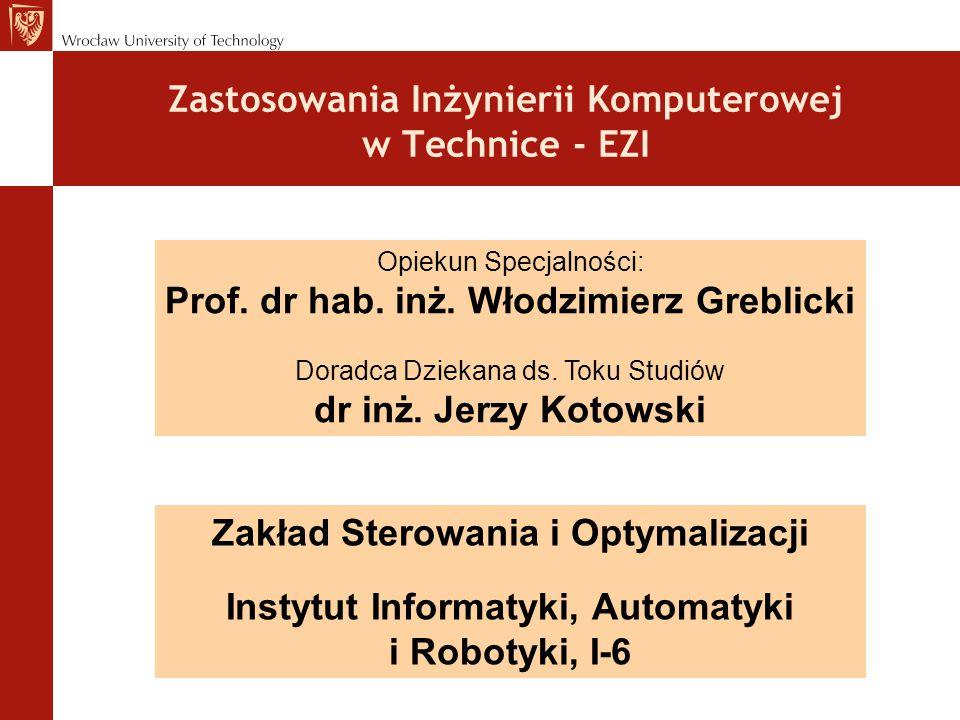 Zastosowania Inżynierii Komputerowej w Technice - EZI Opiekun Specjalności: Prof.