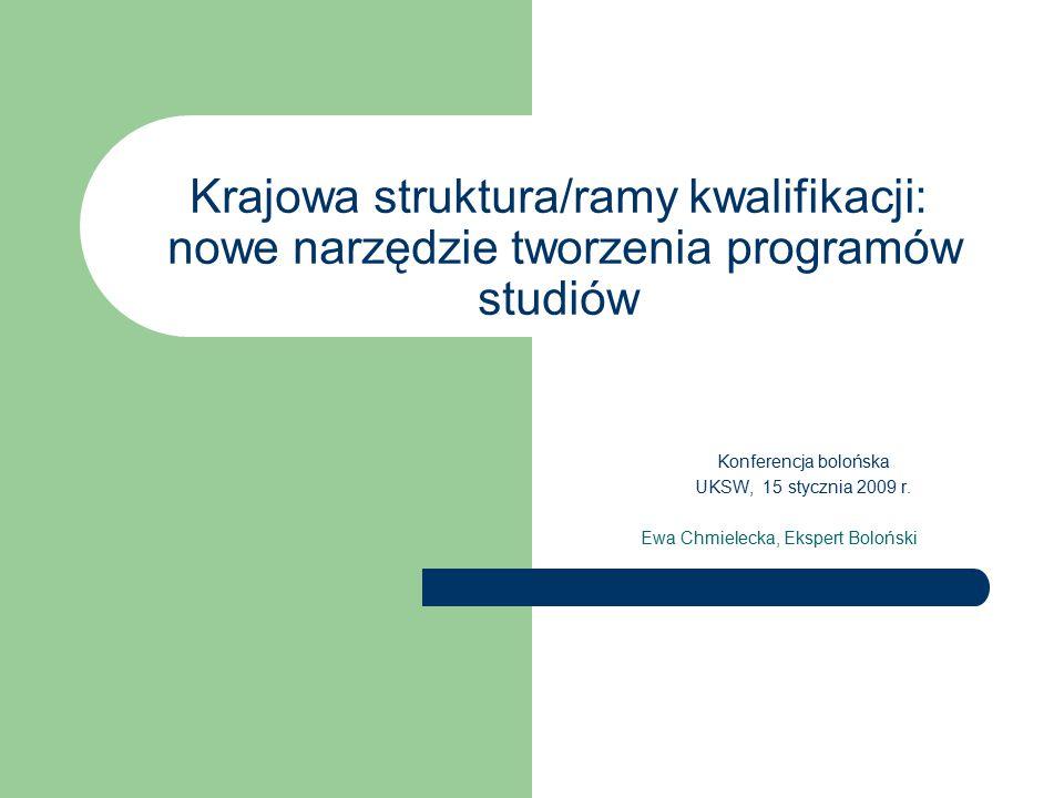 Krajowa struktura/ramy kwalifikacji: nowe narzędzie tworzenia programów studiów Konferencja bolońska UKSW, 15 stycznia 2009 r.