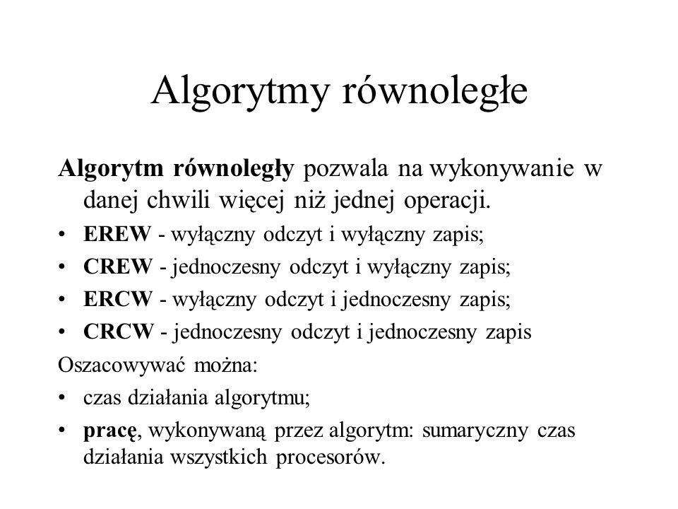 Algorytmy równoległe Algorytm równoległy pozwala na wykonywanie w danej chwili więcej niż jednej operacji. EREW - wyłączny odczyt i wyłączny zapis; CR