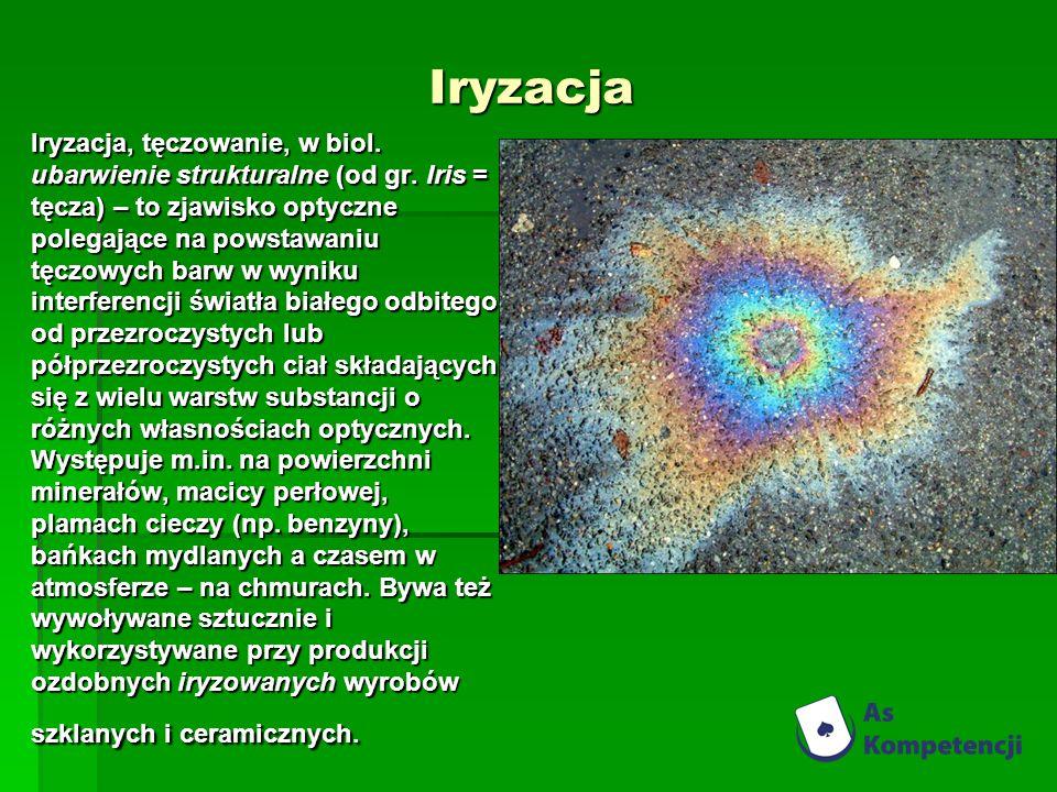 Iryzacja Iryzacja, tęczowanie, w biol. ubarwienie strukturalne (od gr. Iris = tęcza) – to zjawisko optyczne polegające na powstawaniu tęczowych barw w