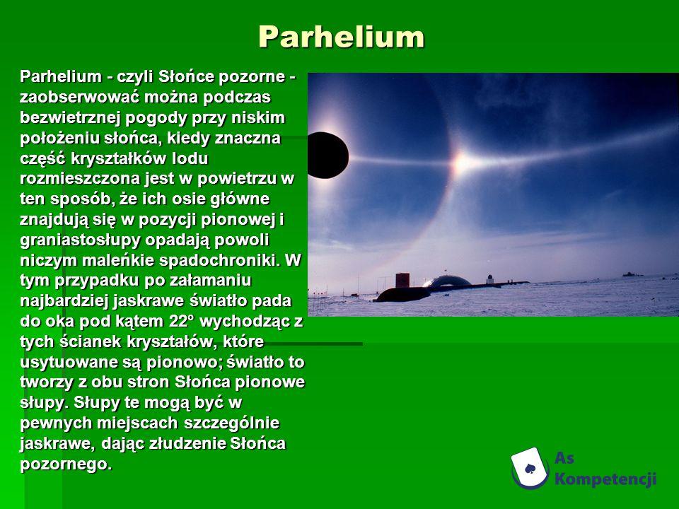 Parhelium Parhelium - czyli Słońce pozorne - zaobserwować można podczas bezwietrznej pogody przy niskim położeniu słońca, kiedy znaczna część kryształków lodu rozmieszczona jest w powietrzu w ten sposób, że ich osie główne znajdują się w pozycji pionowej i graniastosłupy opadają powoli niczym maleńkie spadochroniki.