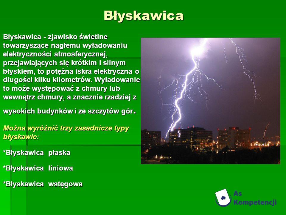 Błyskawica Błyskawica - zjawisko świetlne towarzyszące nagłemu wyładowaniu elektryczności atmosferycznej, przejawiających się krótkim i silnym błyskiem, to potężna iskra elektryczna o długości kilku kilometrów.