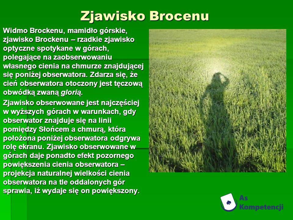 Zjawisko Brocenu Widmo Brockenu, mamidło górskie, zjawisko Brockenu – rzadkie zjawisko optyczne spotykane w górach, polegające na zaobserwowaniu własnego cienia na chmurze znajdującej się poniżej obserwatora.
