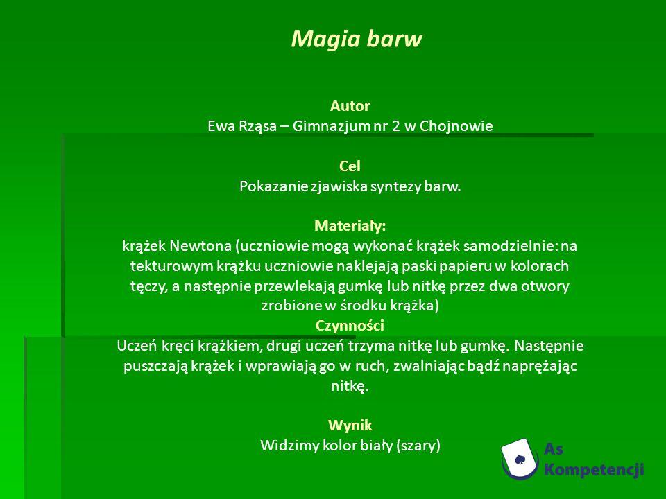 Autor Ewa Rząsa – Gimnazjum nr 2 w Chojnowie Cel Pokazanie zjawiska syntezy barw.