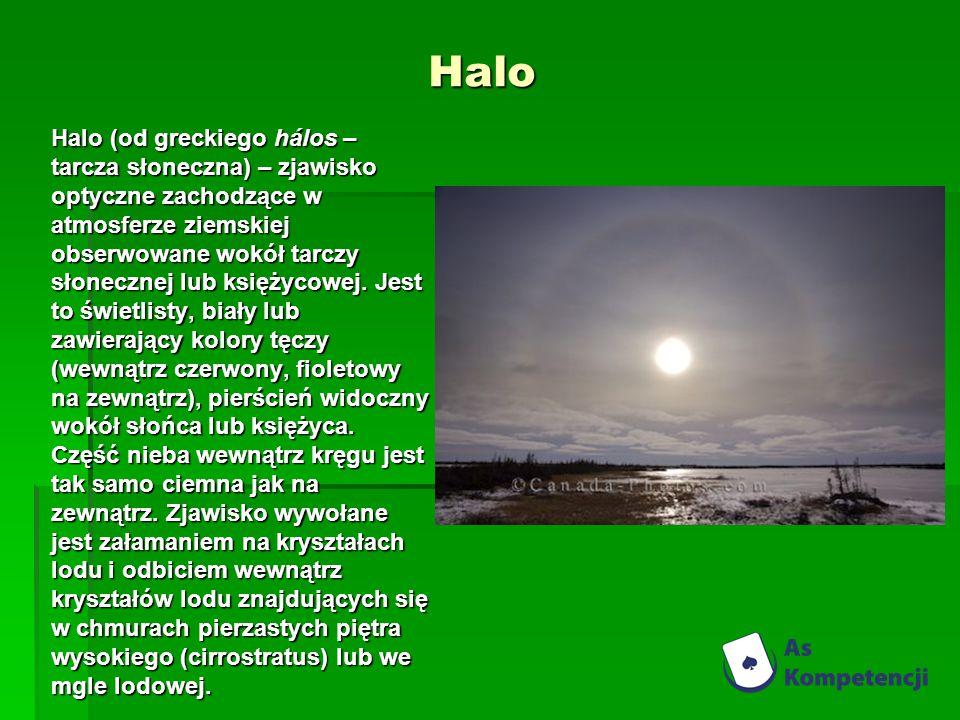 Halo Halo (od greckiego hálos – tarcza słoneczna) – zjawisko optyczne zachodzące w atmosferze ziemskiej obserwowane wokół tarczy słonecznej lub księży