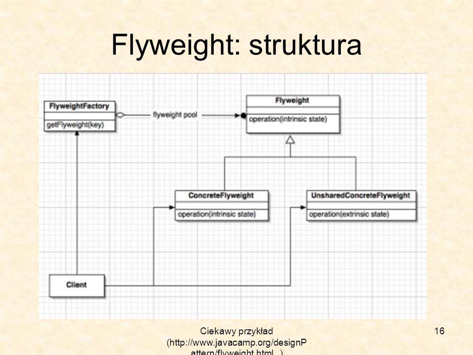 Ciekawy przykład (http://www.javacamp.org/designP attern/flyweight.html ) 16 Flyweight: struktura