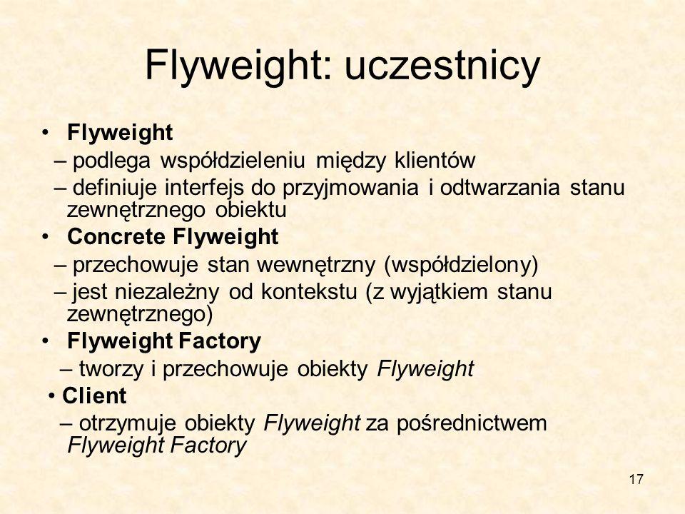17 Flyweight: uczestnicy Flyweight – podlega współdzieleniu między klientów – definiuje interfejs do przyjmowania i odtwarzania stanu zewnętrznego obiektu Concrete Flyweight – przechowuje stan wewnętrzny (współdzielony) – jest niezależny od kontekstu (z wyjątkiem stanu zewnętrznego) Flyweight Factory – tworzy i przechowuje obiekty Flyweight Client – otrzymuje obiekty Flyweight za pośrednictwem Flyweight Factory