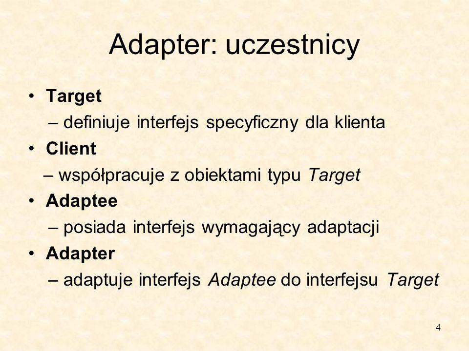 4 Adapter: uczestnicy Target – definiuje interfejs specyficzny dla klienta Client – współpracuje z obiektami typu Target Adaptee – posiada interfejs wymagający adaptacji Adapter – adaptuje interfejs Adaptee do interfejsu Target