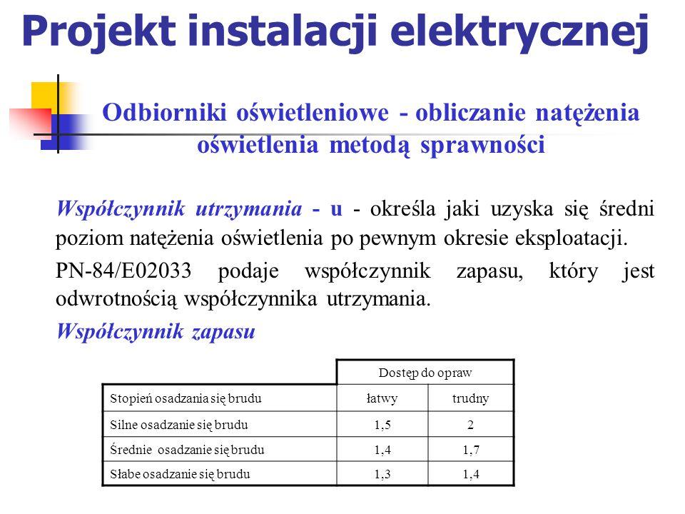 Projekt instalacji elektrycznej Współczynnik utrzymania - u - określa jaki uzyska się średni poziom natężenia oświetlenia po pewnym okresie eksploatacji.
