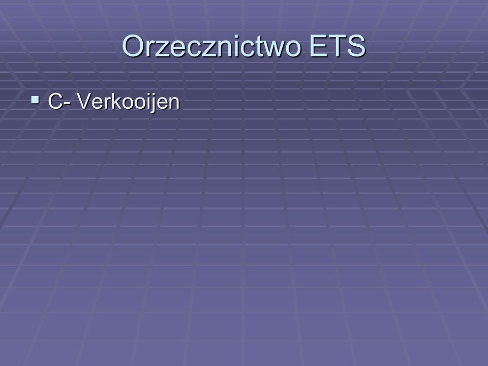Orzecznictwo ETS  C- Verkooijen