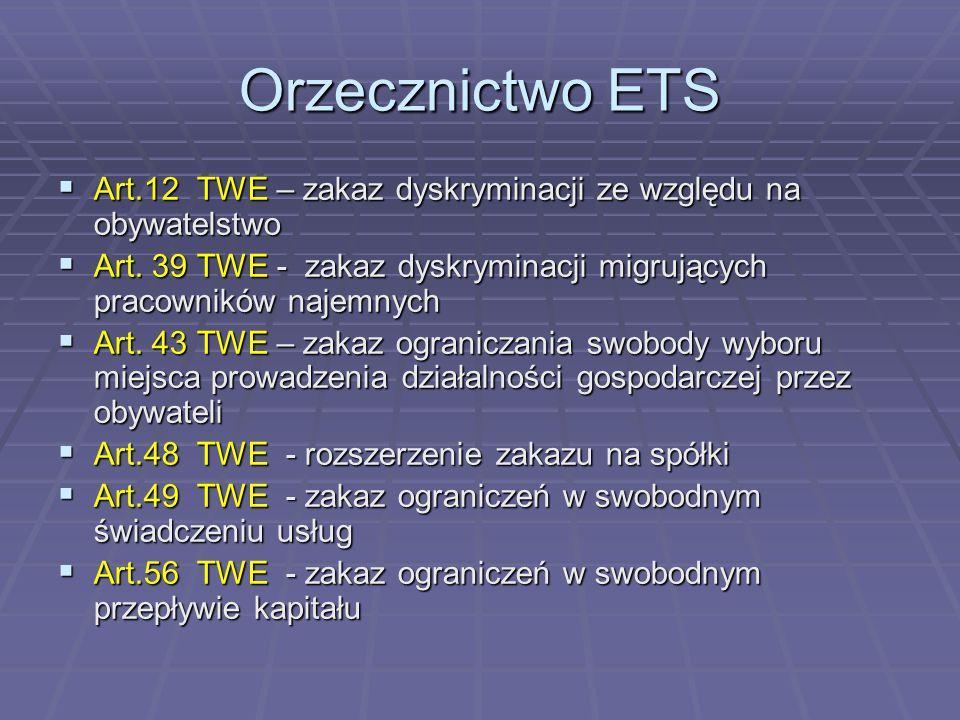 Orzecznictwo ETS  Art.12 TWE – zakaz dyskryminacji ze względu na obywatelstwo  Art.