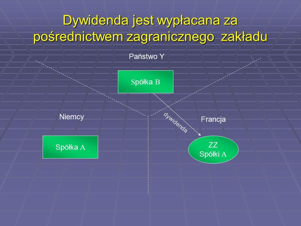 Dywidenda jest wypłacana za pośrednictwem zagranicznego zakładu Państwo Y Niemcy Francja Spółka A S półka B ZZ Spółki A dywidenda