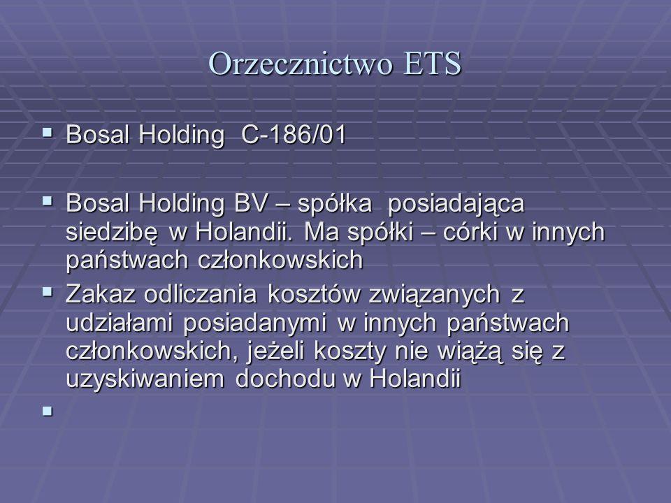 Orzecznictwo ETS  Bosal Holding C-186/01  Bosal Holding BV – spółka posiadająca siedzibę w Holandii.