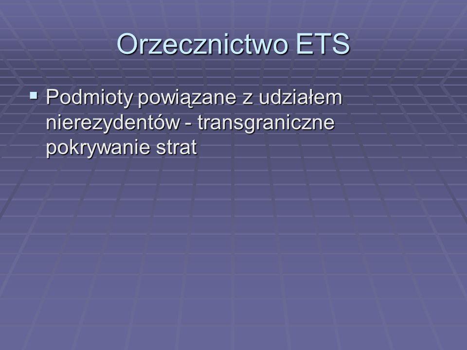 Orzecznictwo ETS  Podmioty powiązane z udziałem nierezydentów - transgraniczne pokrywanie strat