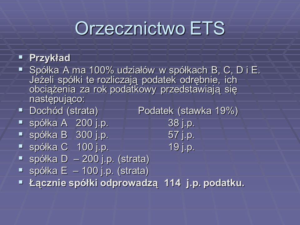 Orzecznictwo ETS  Przykład  Spółka A ma 100% udziałów w spółkach B, C, D i E.
