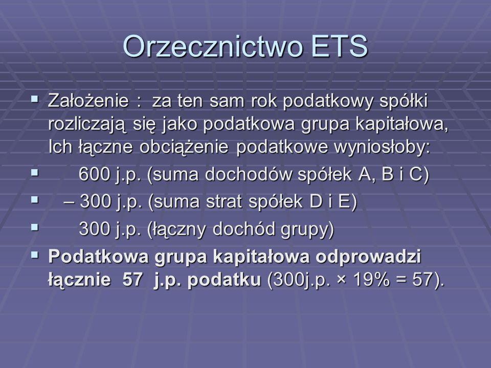 Orzecznictwo ETS  Założenie : za ten sam rok podatkowy spółki rozliczają się jako podatkowa grupa kapitałowa, Ich łączne obciążenie podatkowe wyniosłoby:  600 j.p.