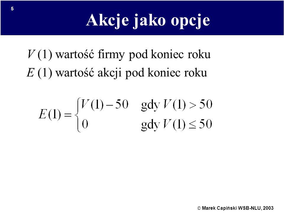 © Marek Capiński WSB-NLU, 2003 5 Akcje jako opcje V (1) wartość firmy pod koniec roku E (1) wartość akcji pod koniec roku