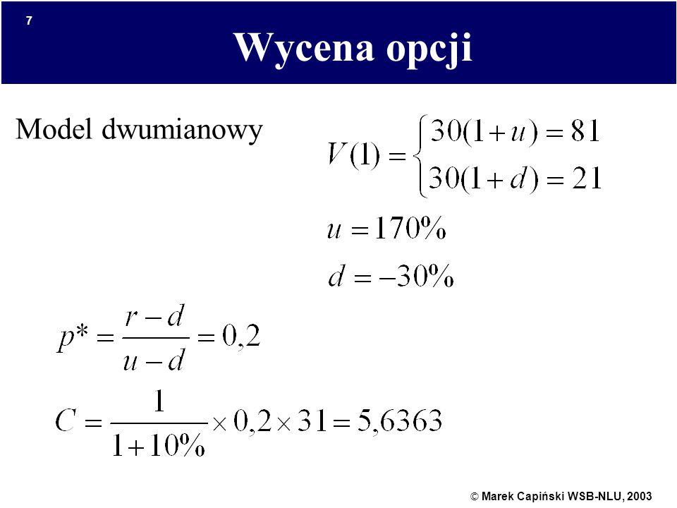 © Marek Capiński WSB-NLU, 2003 7 Wycena opcji Model dwumianowy