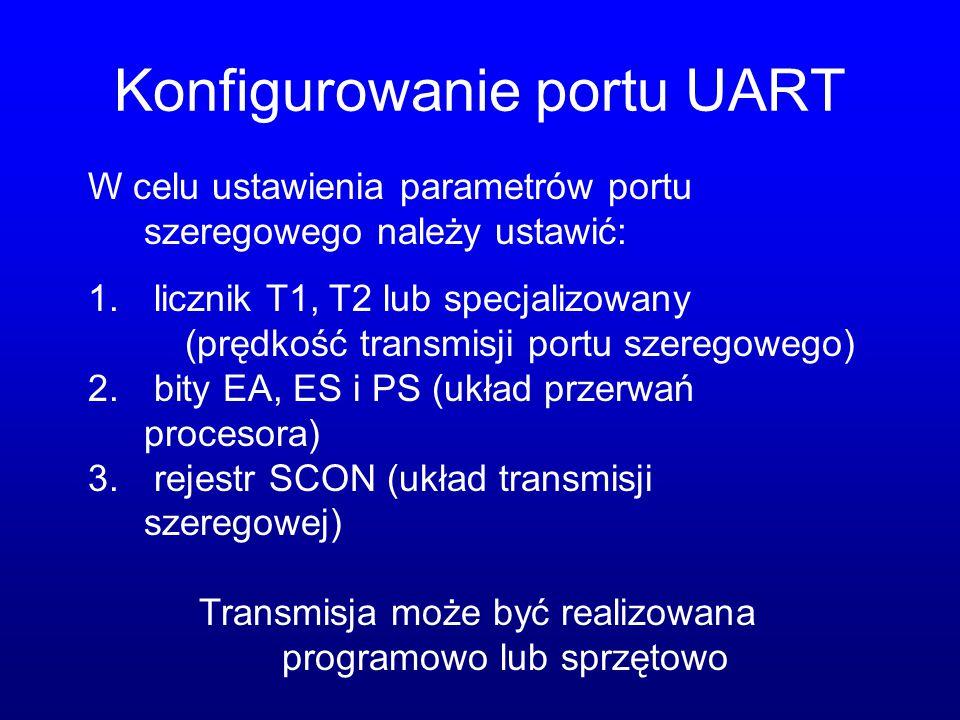 Konfigurowanie portu UART W celu ustawienia parametrów portu szeregowego należy ustawić: 1. licznik T1, T2 lub specjalizowany (prędkość transmisji por