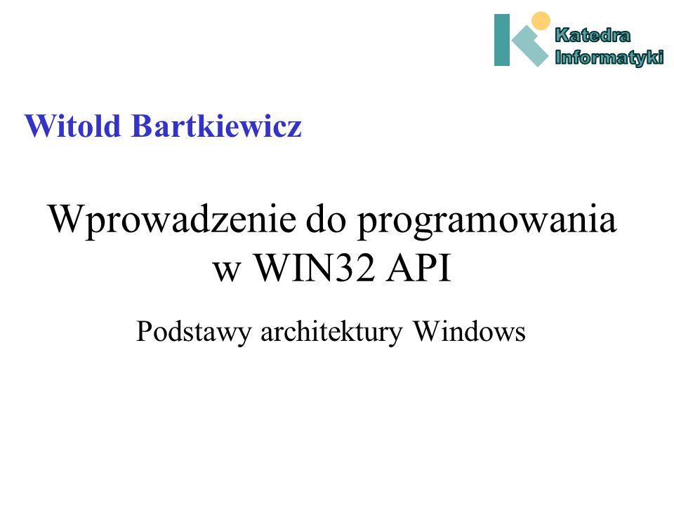 Kompilacja z WIN32 API W przypadku Win32 API biblioteki importowe oraz pliki nagłówkowe niezbędne do kompilacji funkcji bibliotecznych, dostarczane są razem ze środowiskiem programistycznym.