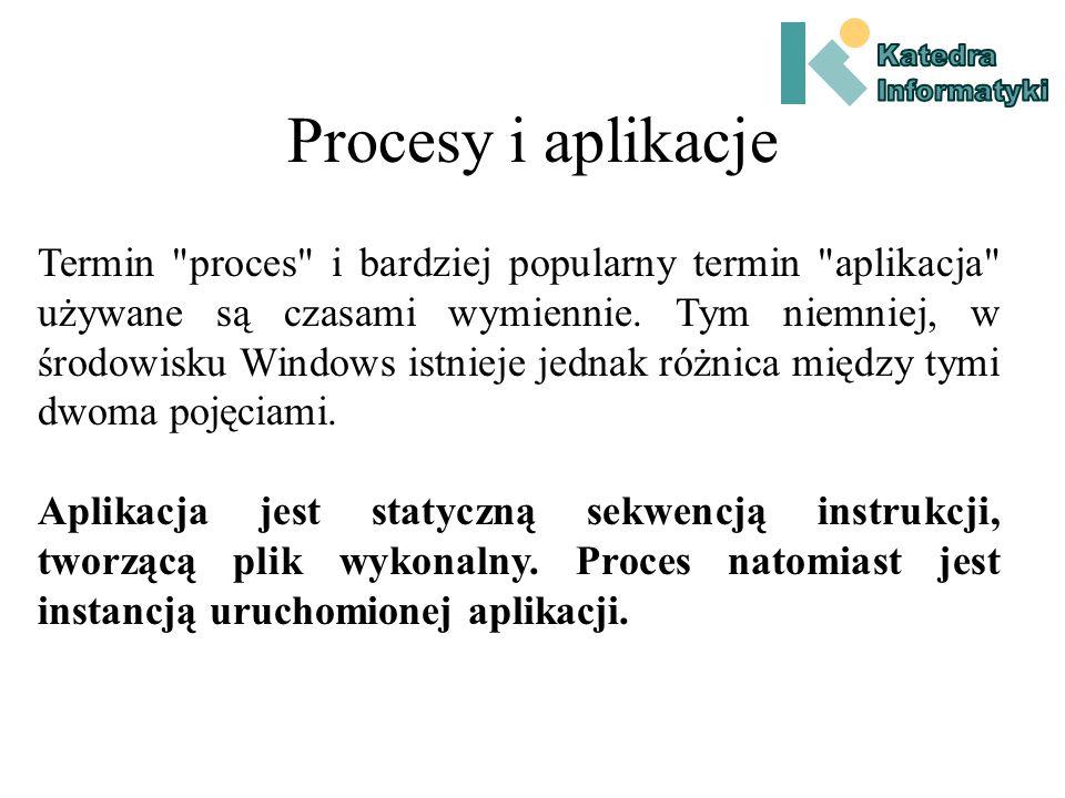 Przyczyny stosowania pamięci wirtualnej Wprowadza (w NT) ścisłe rozgraniczenie między pamięcią różnych procesów.