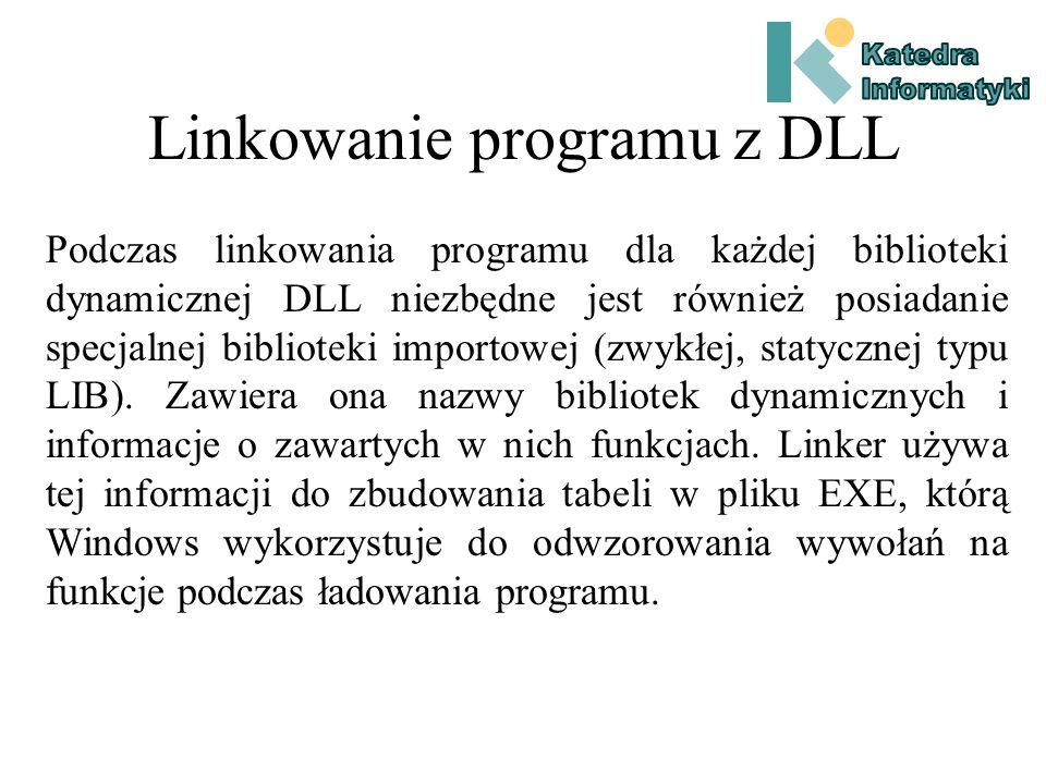 Pliki EXE i DLL Program korzystający z bibliotek dynamicznych dla swojego wykonania wymaga więc dostarczenia obok pliku EXE również plików DLL zawierających wykorzystywane biblioteki.