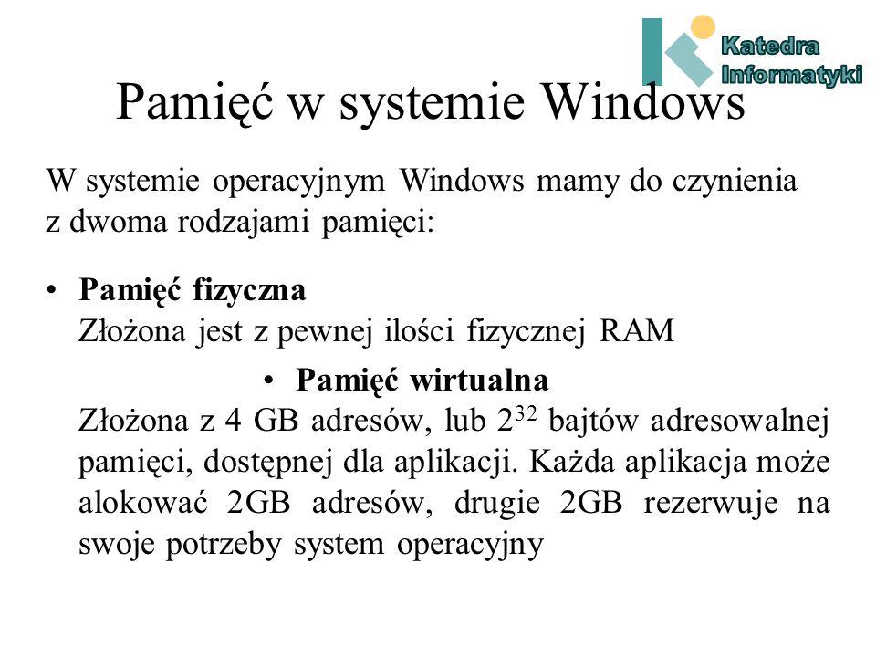 Pamięć w systemie Windows Pamięć fizyczna Złożona jest z pewnej ilości fizycznej RAM Pamięć wirtualna Złożona z 4 GB adresów, lub 2 32 bajtów adresowalnej pamięci, dostępnej dla aplikacji.
