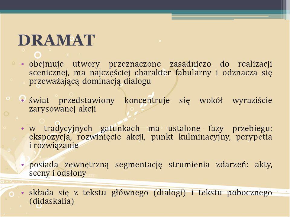 DRAMAT obejmuje utwory przeznaczone zasadniczo do realizacji scenicznej, ma najczęściej charakter fabularny i odznacza się przeważającą dominacją dial