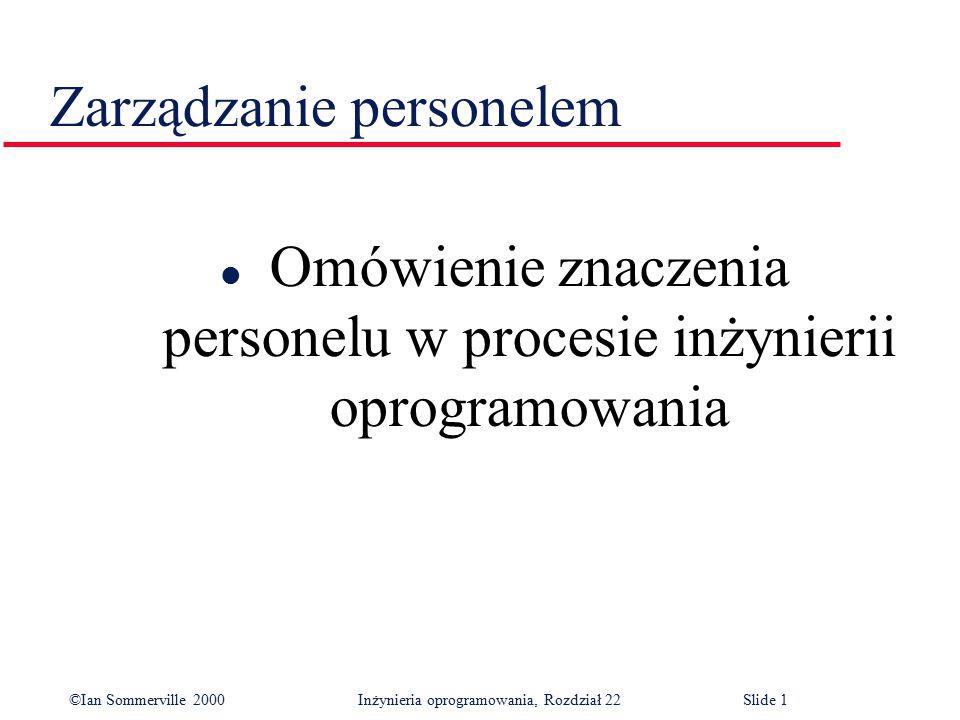 ©Ian Sommerville 2000 Inżynieria oprogramowania, Rozdział 22Slide 1 Zarządzanie personelem l Omówienie znaczenia personelu w procesie inżynierii oprogramowania