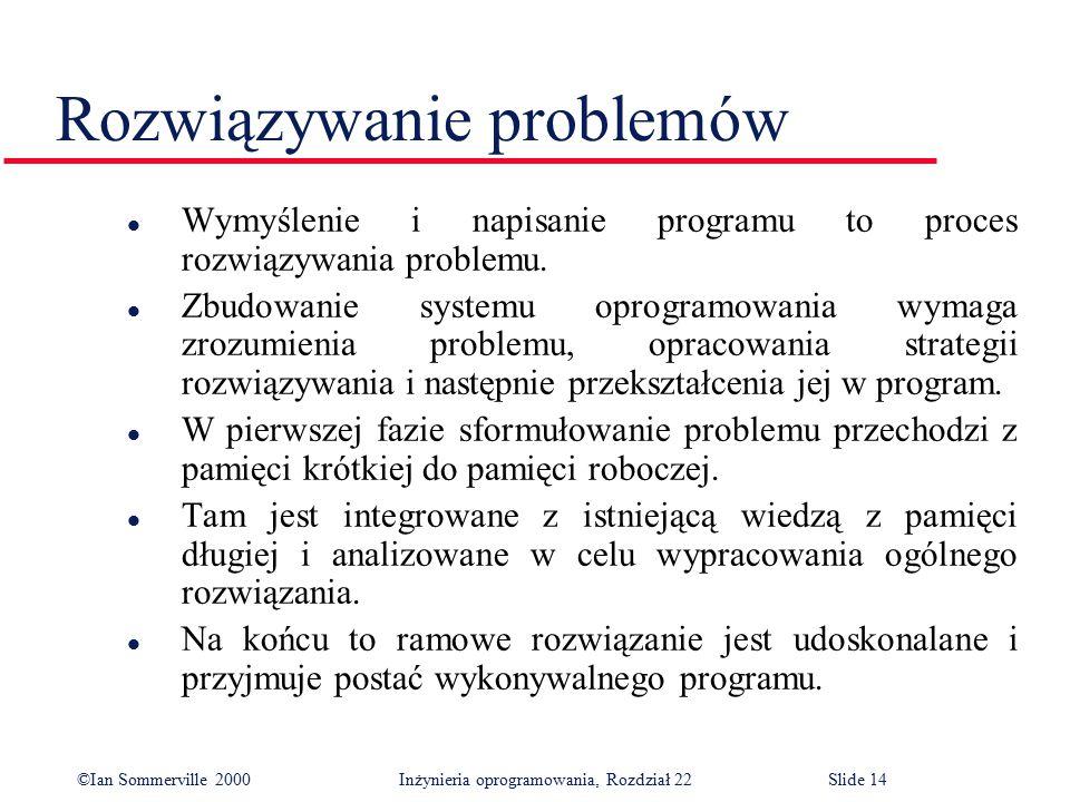 ©Ian Sommerville 2000 Inżynieria oprogramowania, Rozdział 22Slide 14 Rozwiązywanie problemów l Wymyślenie i napisanie programu to proces rozwiązywania problemu.