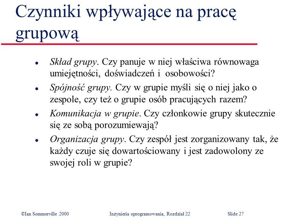 ©Ian Sommerville 2000 Inżynieria oprogramowania, Rozdział 22Slide 27 Czynniki wpływające na pracę grupową l Skład grupy.