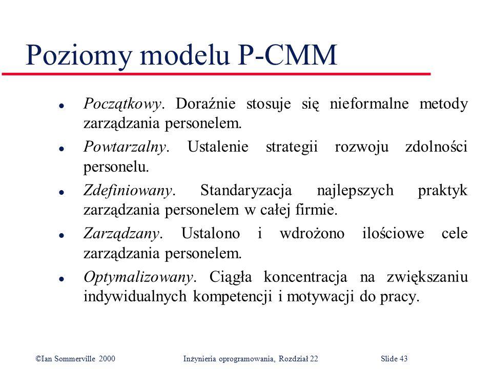 ©Ian Sommerville 2000 Inżynieria oprogramowania, Rozdział 22Slide 43 Poziomy modelu P-CMM l Początkowy.